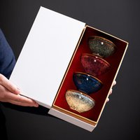 Cups & Saucers 110ML 4pcs Ceramic Teacup Porcelain Tea Cup Set Chinese Bowl Drinkware Box Package For Gifts