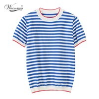 Warmsway fina de malha t camisa mulheres roupas 2021 verão mulher manga longa tees tops listrado t-shirt casual feminino B-019