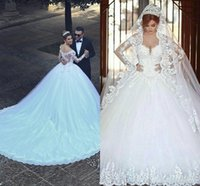 Ball Gown Lace Wedding Dresses 2021 Long Sleeve Transparent Winter Style Custom Princess Bridal Vestido De Novia High Quality Tulle