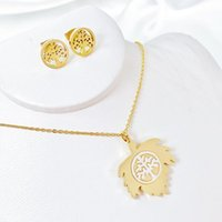 Earrings & Necklace Nextvance Rhinestone Tree Of Life Necklaces Stainless Steel Round Pendant For Women Men Gift Collar Drop