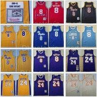 Mitchell und Ness Basketball Jersey 8 Bohne The Black Mamba 2001 2002 1996 1997 1999 2003 All-Star Nähte Gute Qualität Team Gelb Blau Lila Vintage