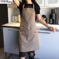 قماش ساحة outsides شواء كبار الأخضر مريلة تنظيف المطبخ المئزر للنساء الرجال الطبخ مطعم النادلة مخصص طباعة logo SH190925