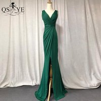 Party Dresses Stretch Green Prom Dress Spandex Mermaid Evening Long Front Sexy Split Formal Gown Emerald Ruched Bridesmaid