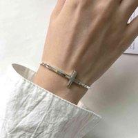2mm Box Chain Geometric Sideway Cross Armband Vitguld Över 925 Sterling Silver Armband Unisex Jesus Christian Smycken