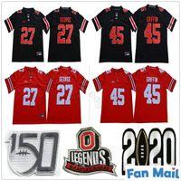 NCAA Vintage Ohio State Buckeyes Koleji # 27 Eddie George Futbol Formaları Kırmızı Siyah Üniversitesi Dikişli 45 Archie Griffin Jersey Gömlek
