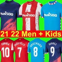 Atletico 축구 유니폼 2021 2022 Madrid João Félix Griezmann Suarez M. Llorente Koke Lemar Carrasco Camisetas 축구 셔츠 21 22 Men + Kids Kit 유니폼