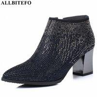 Allbitefo Natürliche Echtes Leder Frauen Stiefel Wasser Bohrer Dekoration Bequeme Knöchelstiefel Herbst Winter Mode R4U8 #