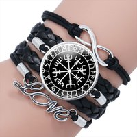 2020-men Viking Woven Leather Bracelet Rune Amulet Multilayer Punk Style