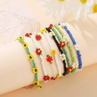 Korean Fashion Flowers Daisy Beads Bracelets Transparent Colorful Beaded Handmade Elastic Wristband for Women 2021 Trend Jewelry