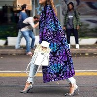 Women's Trench Coats Office Lady Elegant Turn-down Collar Long Coat Outwear Fashion Vintage Printed Winter Women Overcoat Casual Sleeve