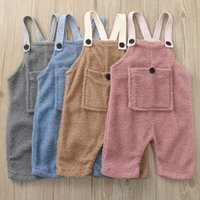 kids clothes girls boys Thickened fluff Romper children Solid color plush Jumpsuit Spring Autumn Winter Sherpa baby Climbing Cloth 1615 B3