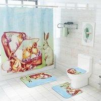 Cortina de ducha de Pascua Tela impermeable personalizada Cortinas de ducha con alfombras y ganchos Conjuntos de cortina a juego personalizados EWF4990