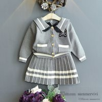Preppy style girls knitted clothing sets kids Bows tie stripe lapel long sleeve sweater cardigan outwear+pleated skirt 2pcs children princess outfits Q2691