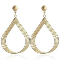 Stud 2021 Fashion Gold Silver Geometric Water Drop Earrings For Women Ladies Birthday Party Wedding Gifts Jewelry Wholesale