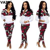 Два куска платье Vazn Streetwear Print Zipper Splice Bodycon Женщины набор весна 2021 мода спортивный V-образным вырезом 2 шт.