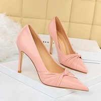 Dress Shoes Korea Edition Spring Vogue Delicate High-heeled With Sweet Stiletto Heel Shallow Mouth Pointed Bowknot Single Shoe