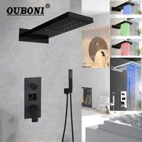 Banyo Duş Setleri Ouboni Krom Lehçe Musluk Duvara Dağı Yağış Kafası 3 Yollu Mat Siyah Dijital Ekran Mikser Seti