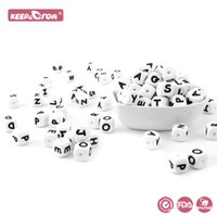 Keep&Grow 100Pcs 12MM Silicone Letter Beads BPA Free Baby Teethers English Alphabet Letters Food Grade Baby Teething Beads 210311