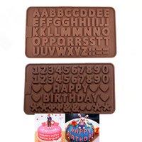 جديد أدوات تزيين كعكة الطعام سيليكون سيليكون الشوكولاته العفن خطاب وعدد قوالب فندان الكوكيز مخبز أدوات CPA3406