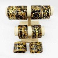 Mode Tortoise Shell Manschette breite Armreifen Samoa Tribal mit Gold Epoxy Armband für Pacific Island Schmuck