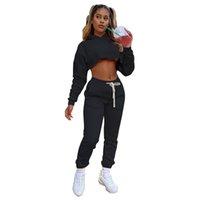 Baby Girl SweatSuit Solide SweatSuit Ensemble Pantalon de Jogger Top Crop Top Set Sortie Tracksuit Tenuilles de deux pièces
