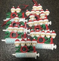 Free Dhl 2021 Christmas Decoration Quarantine Ornaments Family of 1-7 Heads Diy Tree Pendant Accessories with Rope Resin in Stock