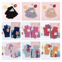 Cold proof knitted gloves warm children's gloves lovely rabbit thickened plush baby finger 9 style T2I52932