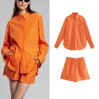 Women's Tracksuits TARF 2pcs Women Cotton Solid Shirt +Short Set 2021 Single Breasted Blouses Summer Female Tops Casual Long Sleeve T-Shirt