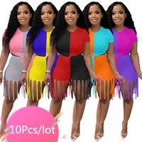 Women's Tracksuits Bulk Item Wholesale Lots Two Pieces Outfits Women Patchwork Short Sleeve Tops Tassel Shorts Casual Matching Sets 2021
