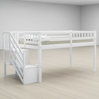 wholesale design Bedroom Furniture double decker white Stylish and sturdy Solid Wood loft Bed with Two Storage Drawers