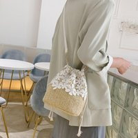 Duffel Bags Crossbody Boho For Women Cherry Bucket Small Fresh Lace Ladies Handbag Female Straw Beach Messenger Bag