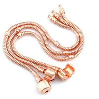 Drop 1pcs Rose Gold Bracelets Women Snake Chain Charm Beads for pandora Bangle Bracelet Children Gift 6KWJ