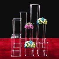 Decoración de fiesta Acrílico Plinté Tabla Center Pieza de flores Flor de lujo Floral Garland Soporte Columnas para la decoración del contexto del escenario de cumpleaños de la boda
