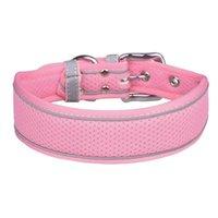 Collares de perro correa collar de mascotas raya reflectante anti-lleno de color sólido ajustable transpirable acogedor collar de moda para mediano grande d
