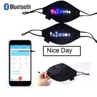 Bluetooth 프로그래밍이 가능한 LED 디스플레이 조명 위로 남성용 Luminous 여성 레이브 마스크 음악 파티 크리스마스 할로윈 마스크 기호 모듈