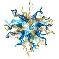 Manchado Plástico Flor Lâmpadas Pingente Multi Colorido Chandelier Iluminação Sala de Jantar 70x70 cm Mão Feito de vidro soprado Art Deco Chandeliers Lâmpada Itália Luzes