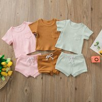 Infant Clothing Sets Girls Outfits Boys Baby Clothes Children Suits Summer Cotton Short-Sleeved T-shirts Shorts Two-Piece B6207