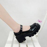 Dress Shoes Sapatos mary jane de couro., sapatos casuais femininos alça com fivela, do redondo, para festa estudante e verão. YCV4