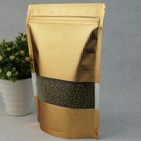 14x20cm DoyPack Gold Block Block Zip con zip 50pcs / lot Stand Up Foglio di alluminio con cerniera Zipper Borsa con finestra in plastica opaca trasparente 102 S2