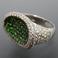 Cluster Rings Inlaid With Zircon Green Bird's Nest Wedding Engagement Party Gift Classic Ring Fashion Women's