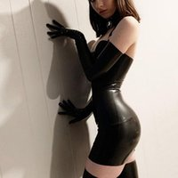 Casual Dresses 2021 Sexy Backless Club Party Short Dress Solid Black Wet Look Latex Bodycon Faux Leather Push Up Bra Mini Leotard