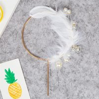 Other Event & Party Supplies Feather Wing Cake Decoration Circle Pearl Cupcake Topper Pick For Wedding Birthday