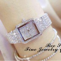 デザイナーの高級ブランドの時計レディースクリスタル女性ラインストーンESレディダイヤモンドストーンドレスステンレススチールブレスレットの手首