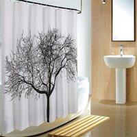 Árvore preta design chuveiro cortinas casa casa banheiro decoração poliéster chuveiro cortina à prova d 'água banho cortina de banho com ganchos 180 * 180 cm 616 r2
