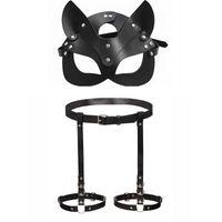 Bdsm Party Masks Leather women's leg Harness Strap Sex Toys For Couples Adults Fetish Cat Mask Sex Restraints Carnival Bondage Y0913