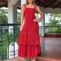 Casual Dresses Long Maxi Dress Ruffled Hem Baggy VONDA 2021 Women Party Solid Sexy Sleeveless Robe Bohemian Vestidos