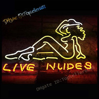 """Live Nude Girls Bar Cerveja Beer Club Déce Dual Cor Vidro LED Néon sinal amarelo vermelho 17 """"x 14"""""""
