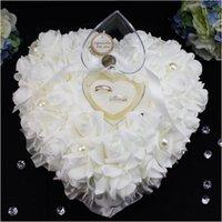 Cadeau enveloppement coeur forme coeur cristaux blancs perles bague nuptiale oreiller organza satin dentelle support fleur oreillers rose fournitures de mariage