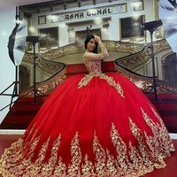 Red Sparkly Ball Gown Quinceanera Dresses 2022 Long Sleeve Lace Applique Crystal Prom Gowns Lace-up Corset Sweet 15 Party Dress
