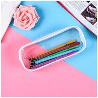 PVC Pencil Bag Zipper Pouch School Students Clear Transparent Waterproof Plastic PVC Storage Box Pen Case DH8575